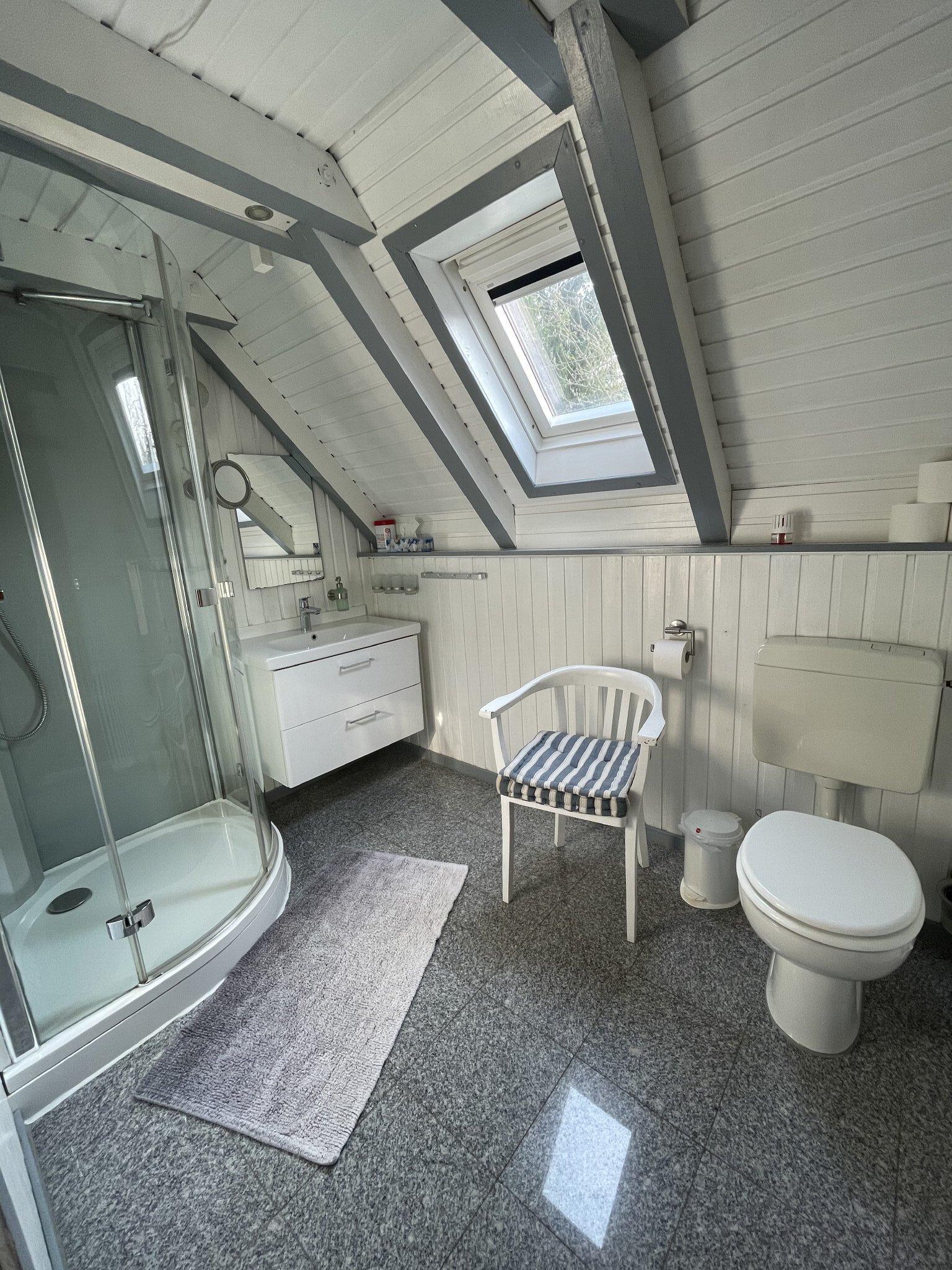 Bad im EG mit Dusche, WC und Waschbecken