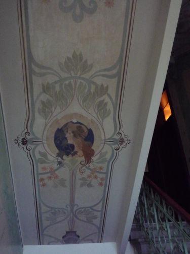 Restaurierte Malerei im Treppenhaus