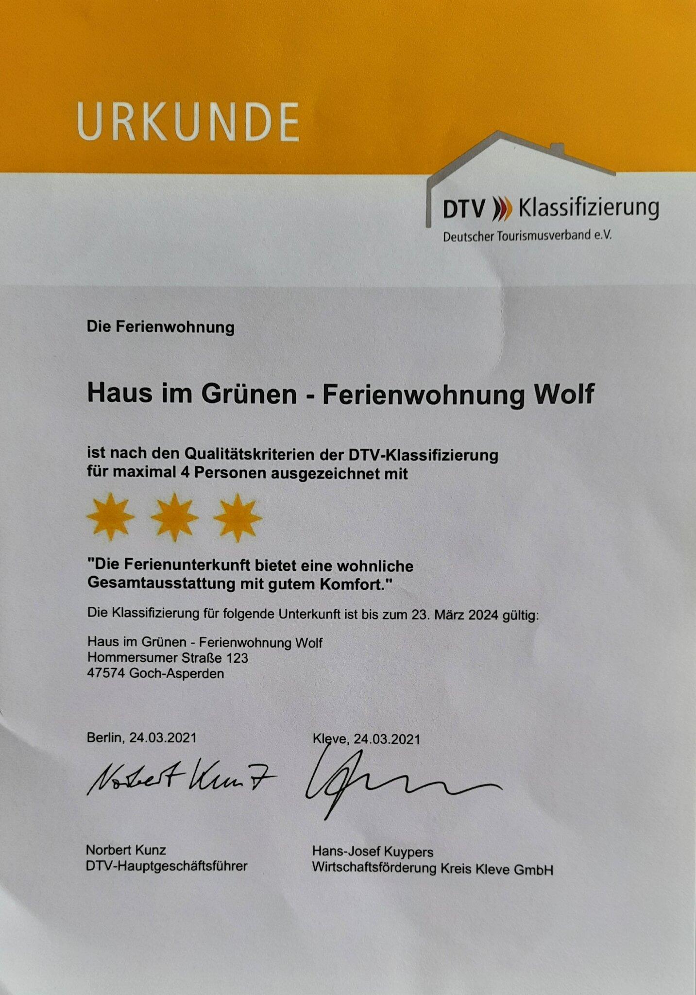 Bestätigung DTV 3 Sterne Ferienwohnung
