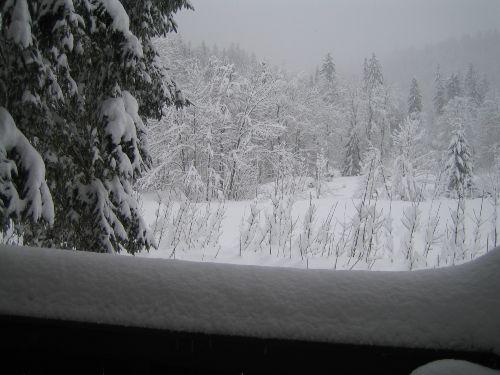 winterlicher Blick vom Balkon