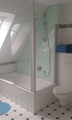 Teilrenoviertes Bad, neue Duschwand!