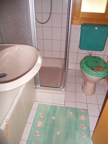 Dusche mit Spiegelschrank und F�n