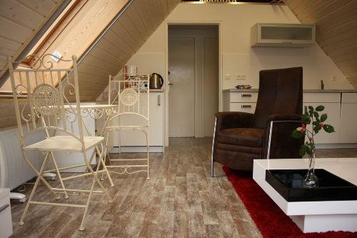 Wohnzimmer und vollwertige Küche