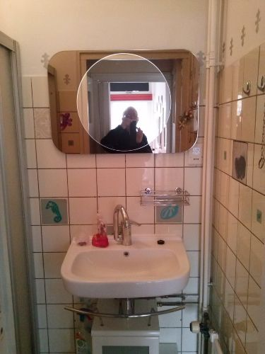 Dusche mit Waschbecken