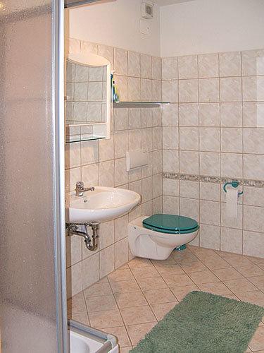 Bad mit Dusche und Handtuch Trockner