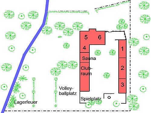 Grundstücksplan mit Wohnungen