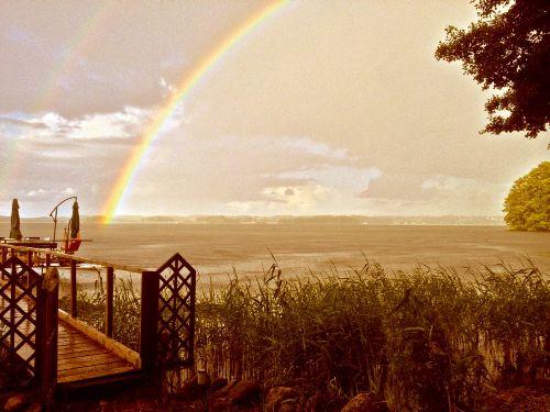 2 Regenbogen über dem See