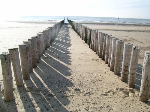 Wellenbrecher am Strand der Nordsee