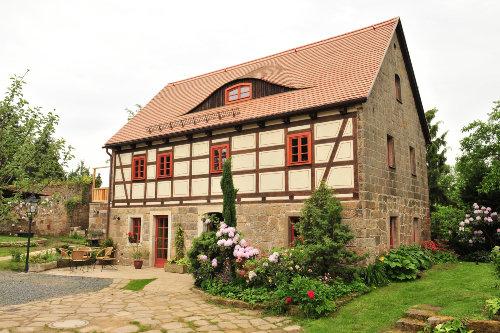 Blick vom Innenhof auf Ferienhaus