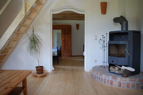 Wohnbereich Wohnung Rosenhagen mit Kamin