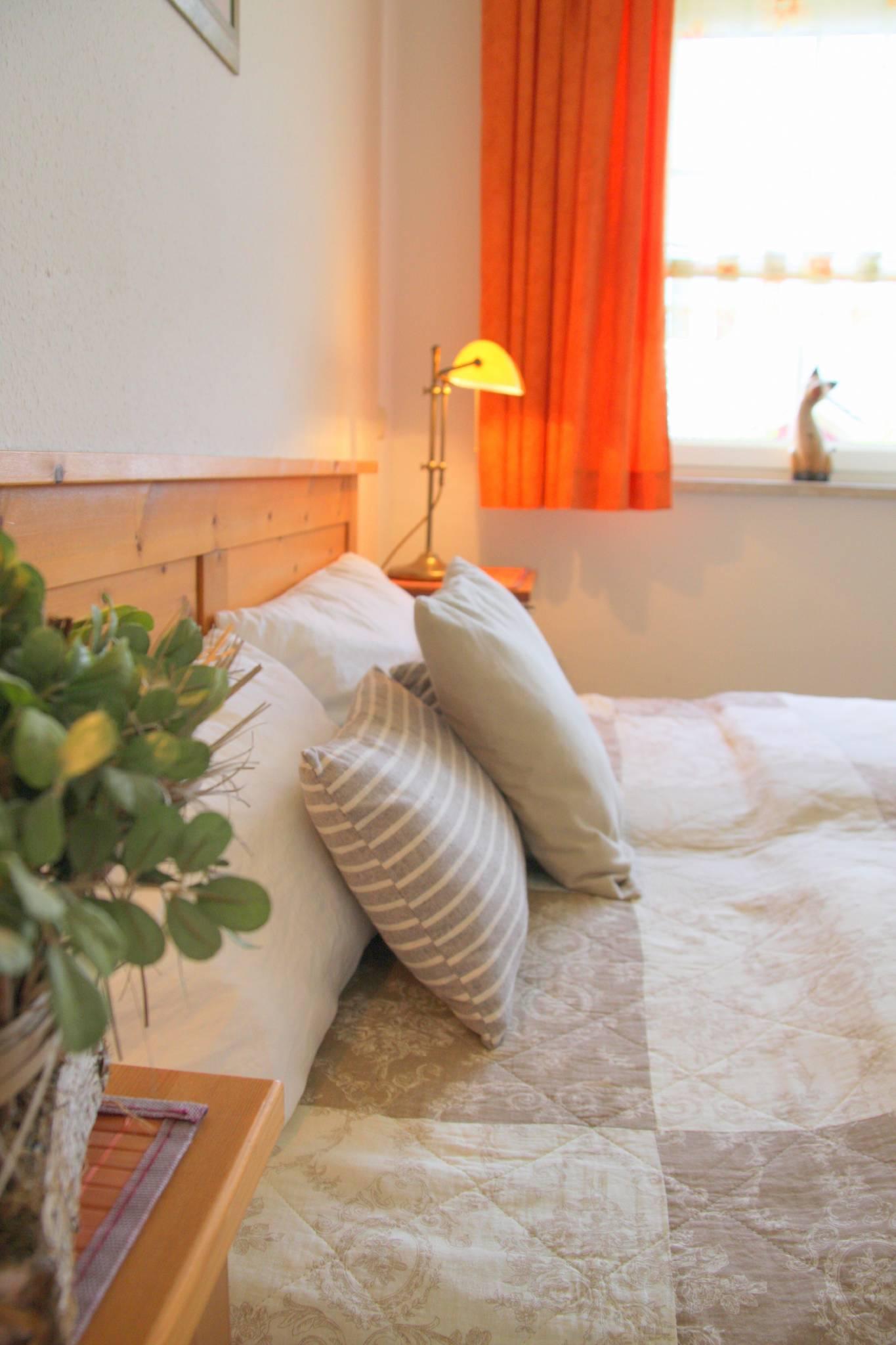 Wohnzimmer mit Schlafsofa und Esstisch