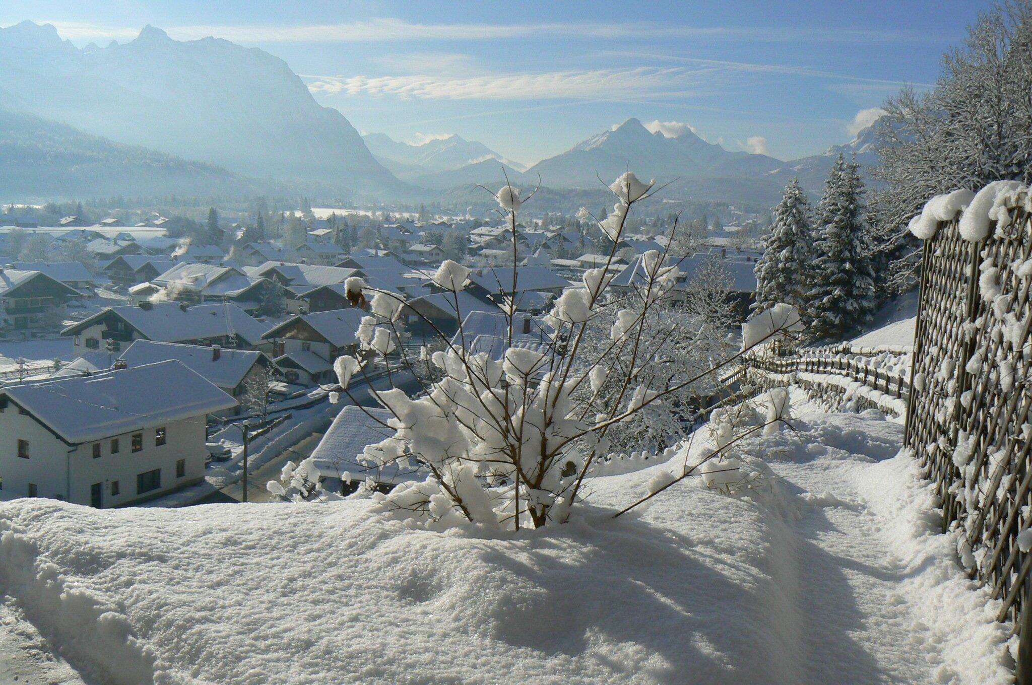 Blick vom Haus im Winter