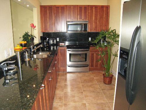 Küche aus Echtholz mit Edelstahlgeräten