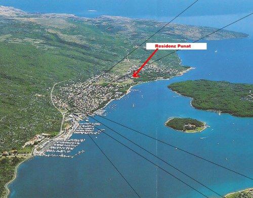Luftbildaufnahme mit dem Standort