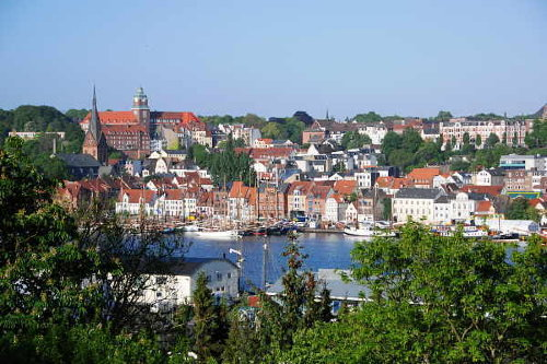 Stadt Flensburg mit Blick auf den Hafen