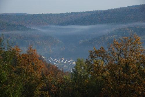 Frammersbach im Herbst von oben