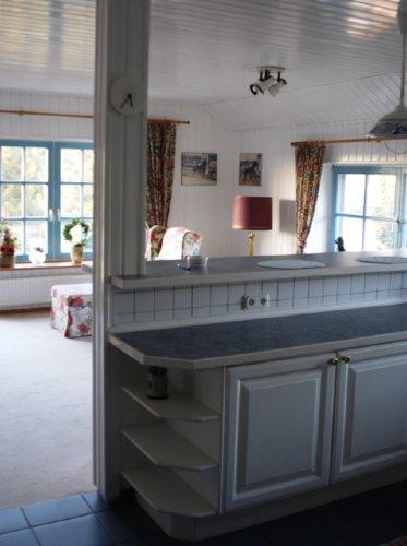 Wohnbereich mit angrenzender Küche.