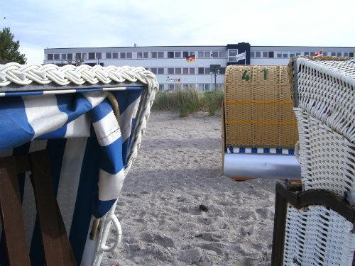 der Blick vom Strand auf das Strandhotel