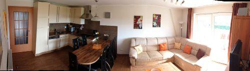 Panorama Bild: Küche, Ess- und Wohnecke