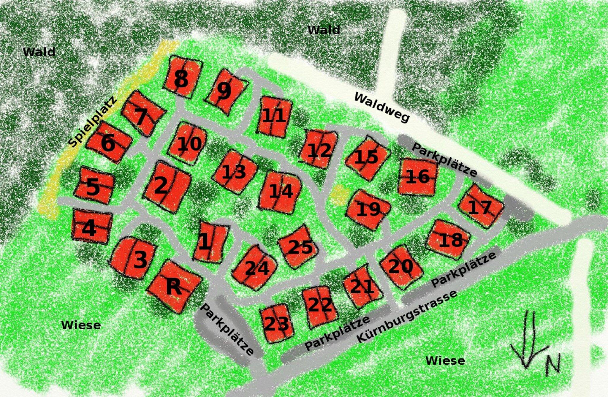 Lageplan vom Feriendorf und Haus 4