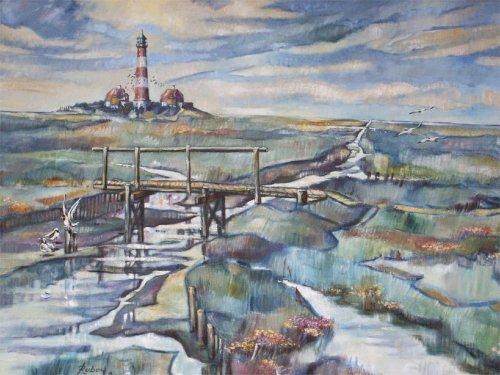 """Gerhard Rubow: """"Der Leuchtturm"""", Öl"""