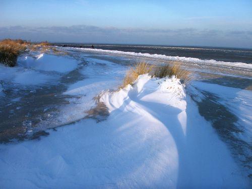 Dünen im Schnee! Eisgang im Wattenmeer!