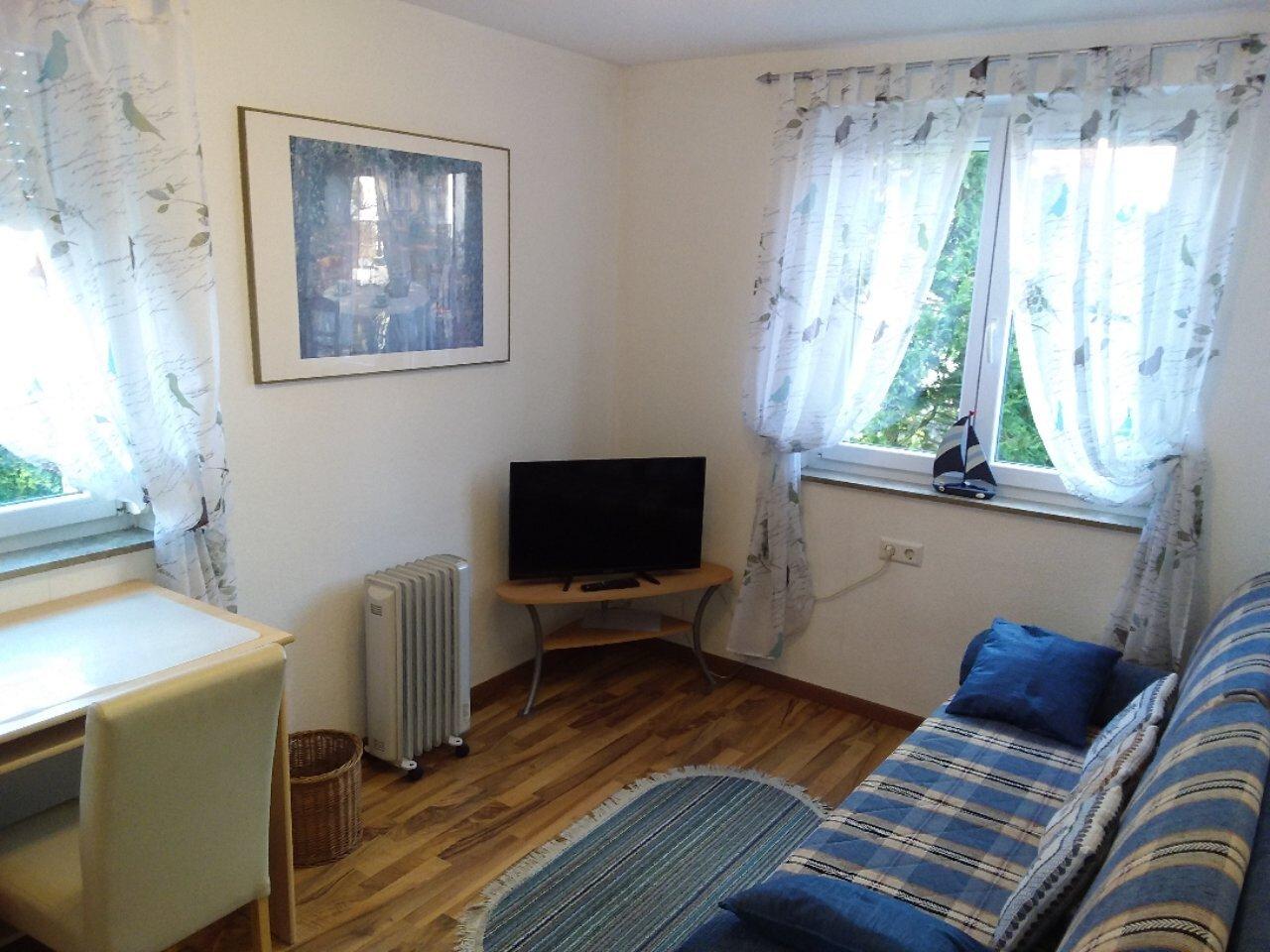 2. Schlafzimmer mit Schlafcouch und TV
