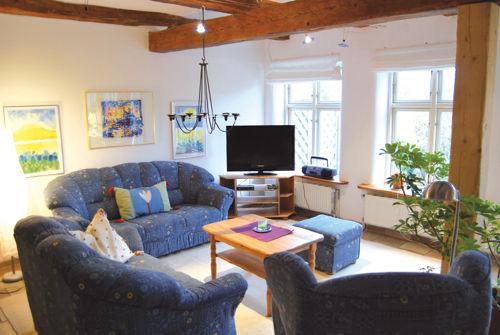 Gro�es Wohnzimmer mit sonniger Terrasse