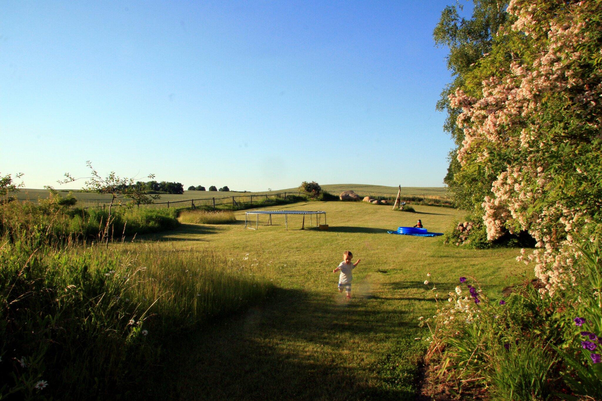 westliche Gartenseite großem Trampolin