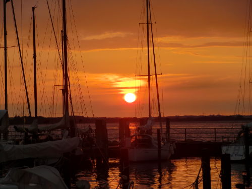 Abendstimmung im Hafen Langballigau