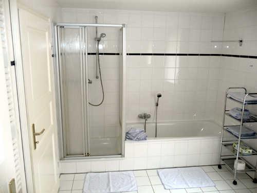 Großes Wannenbad mit Dusche