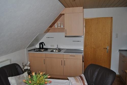 Wohnzimmer m. neuer, moderner Einbauküche