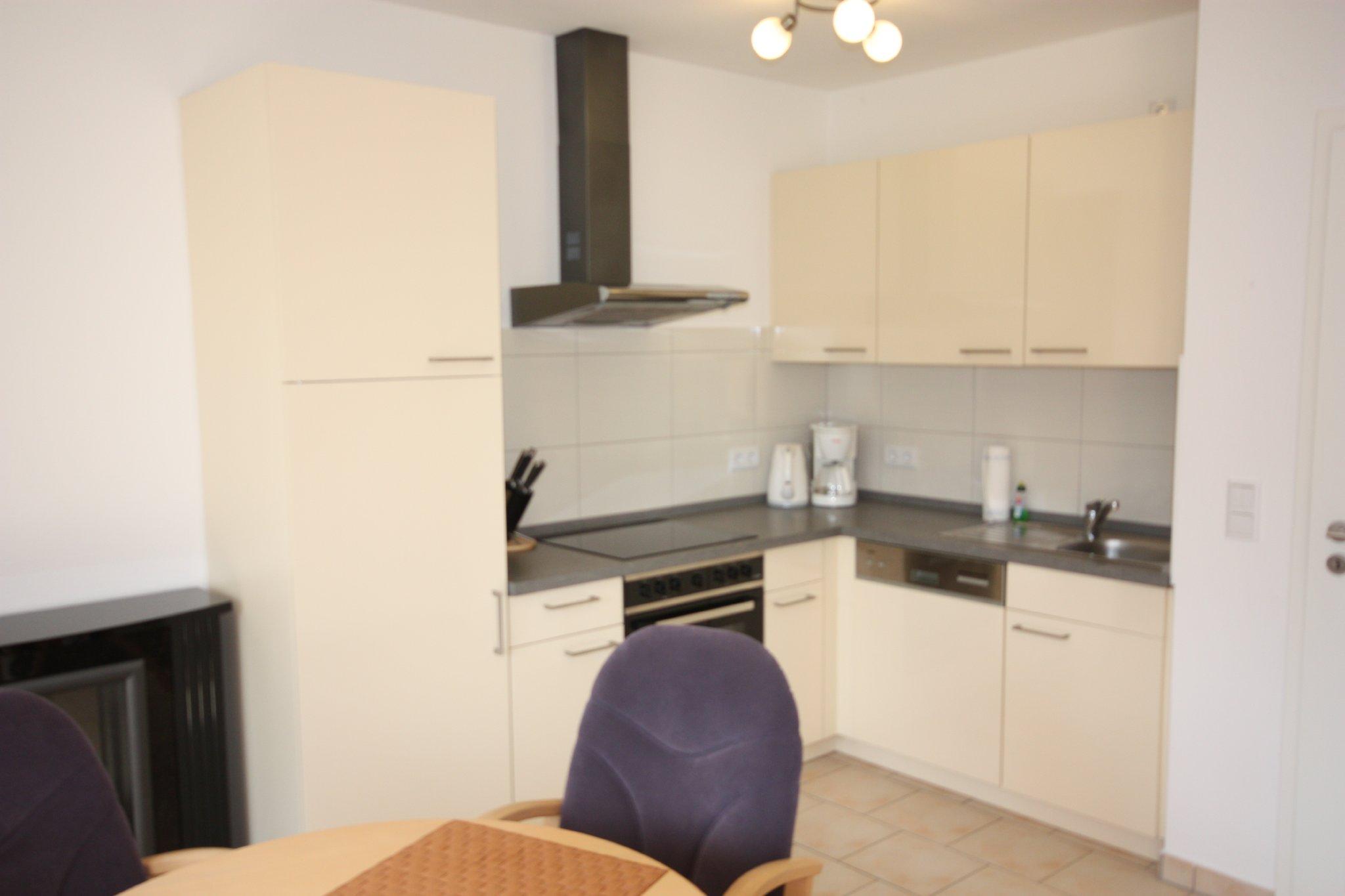 Wohnzimmer mit Einbauküche