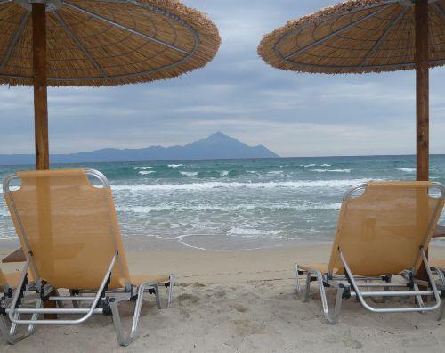 Der Berg Athos vom Strand in Sarti
