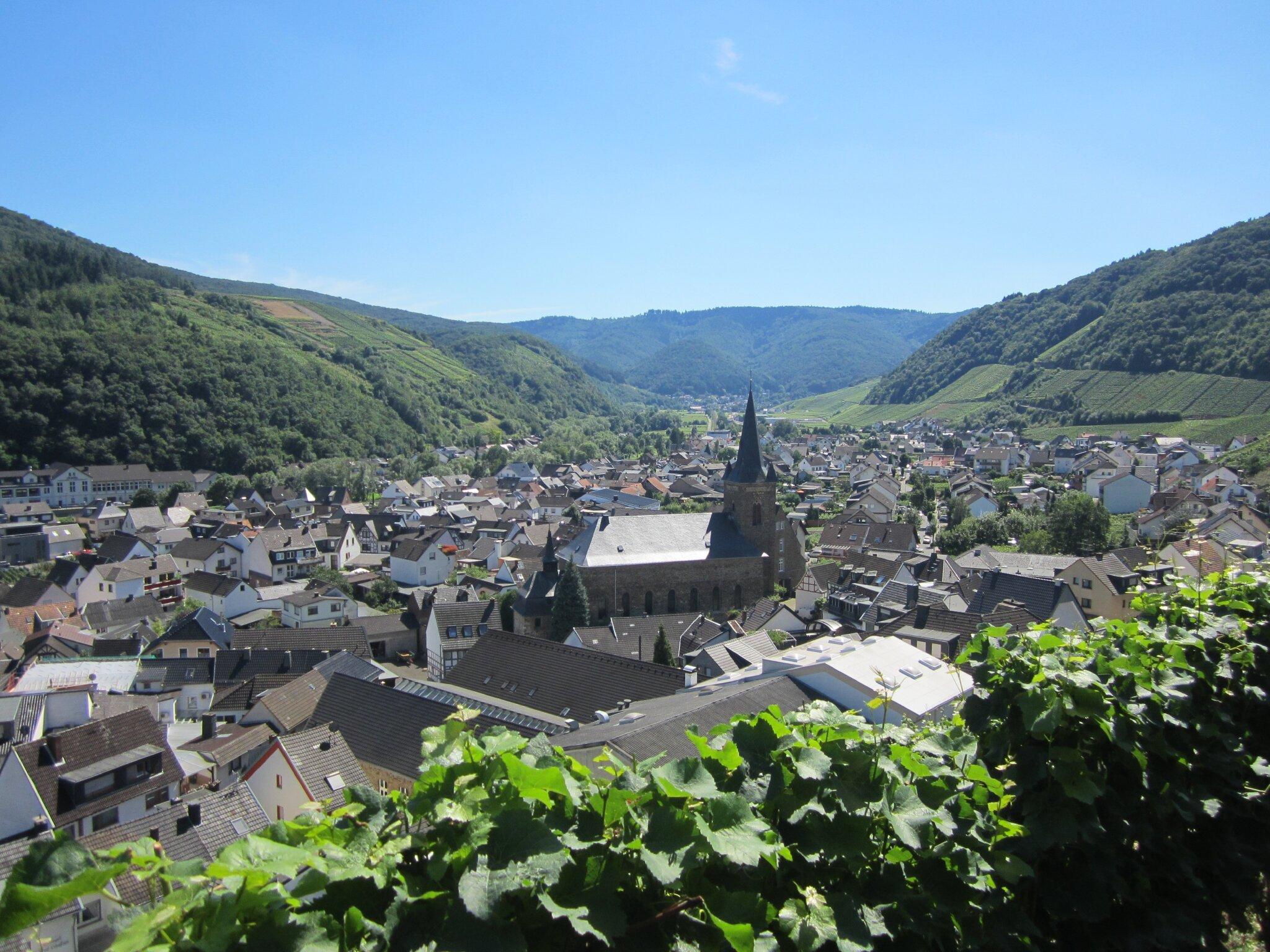 Blick vom Rotweinwanderweg auf Dernau