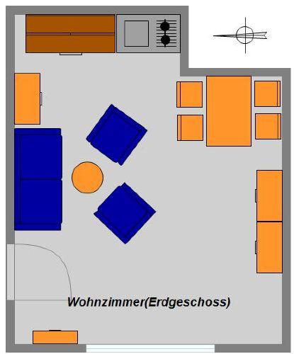 Grundriss Wohnzimmer (Erdgeschoss)