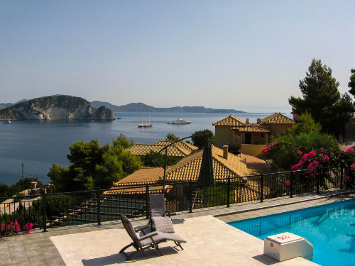 Panoramablick vom Pool über die Bucht