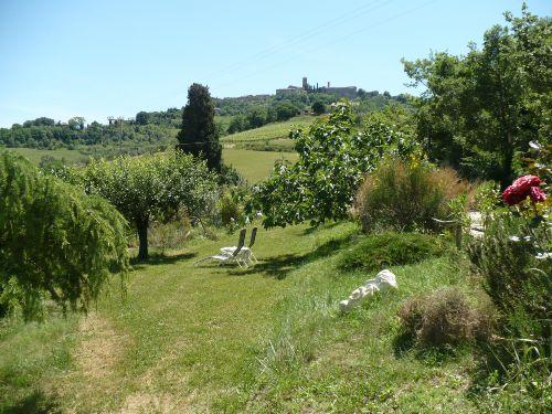 Blick auf dem Dorf Radicondoli