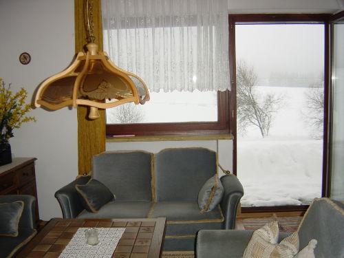 Wohnzimmer - Blick nach draußen - Winter
