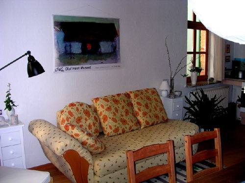 Ottomane-Doppelbettsofa mit Schlaffunkt.