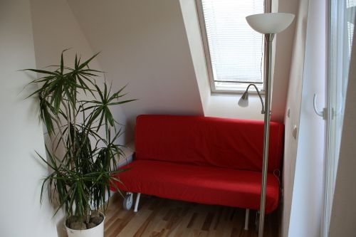 Das Wohnzimmer- mit Gartenblick