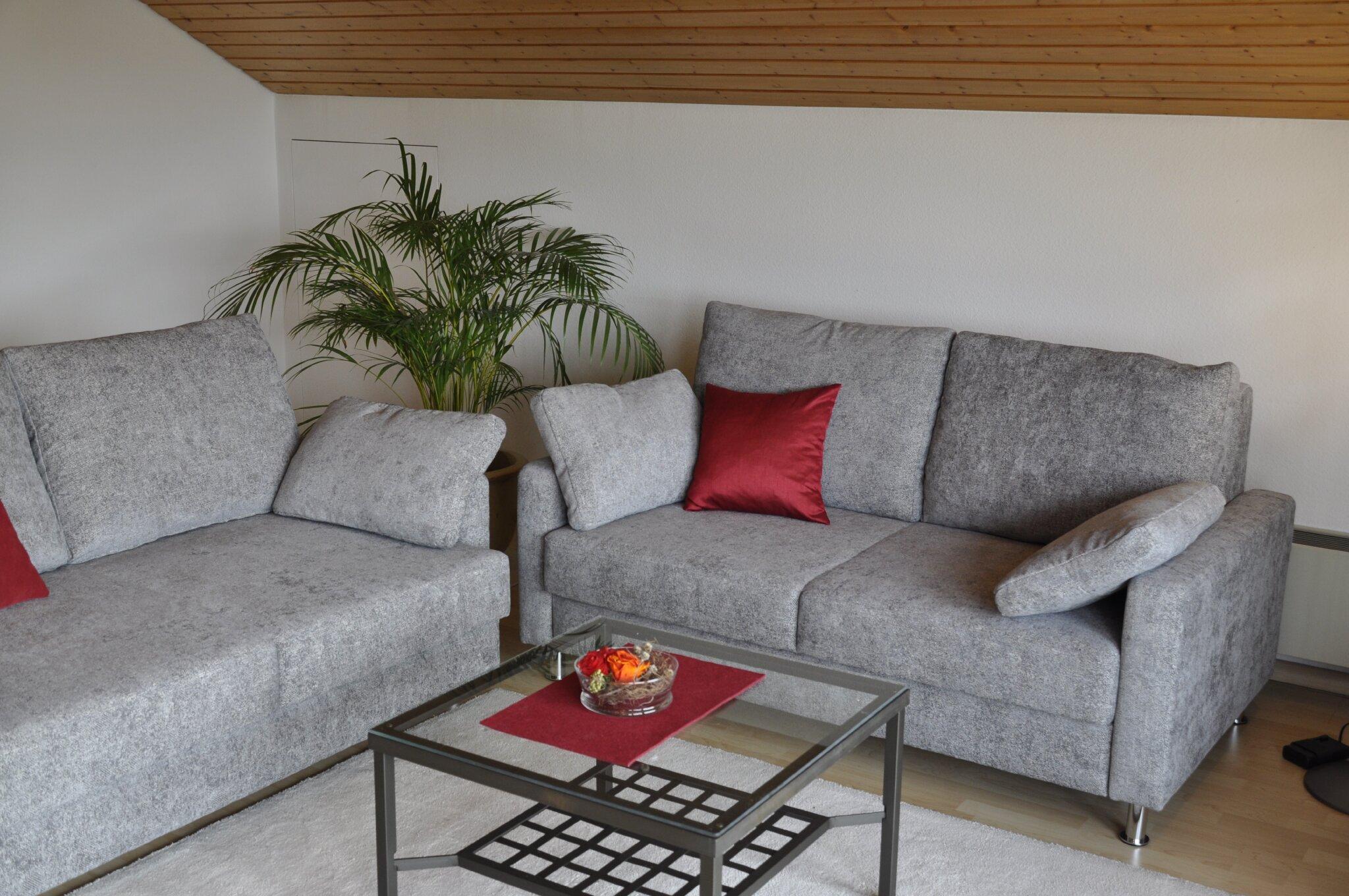Doppelbett im großen Wohnzimmer