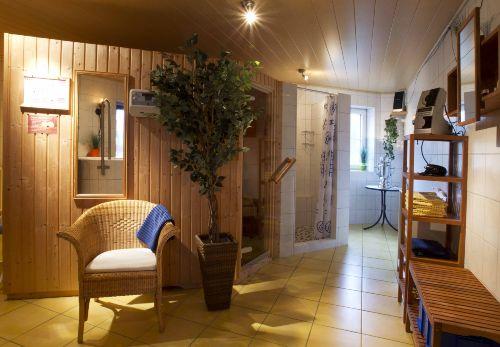 Sauna mit Tauchbecken und Teeecke
