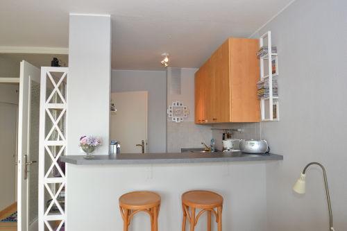 Offene Küche mit modernen Elektrogeräten