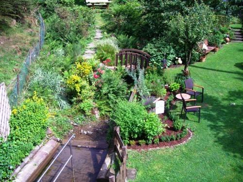 Der gepflegte Garten mit Kneipp-Tretbecken