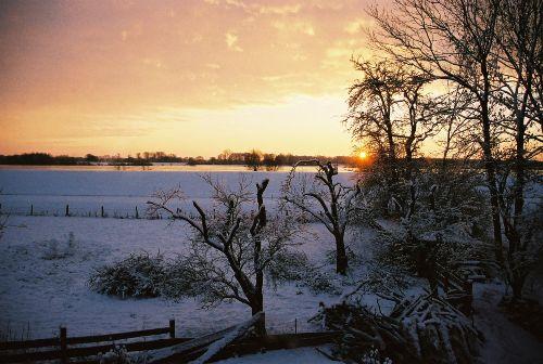 Blick auf die winterliche Elbe