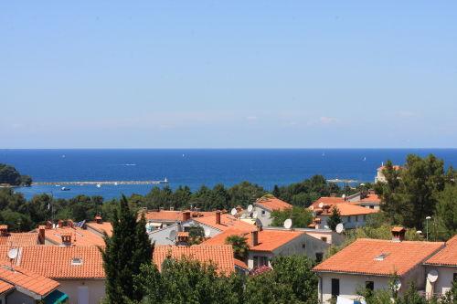 Blick vom Balkon auf die Adria und Porec