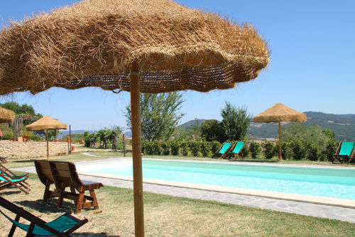 unsere Pool mit tropische Sonneschirme