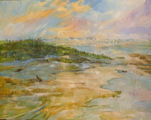 "Gerhard Rubow: ""Die große Sandkiste"", Öl"