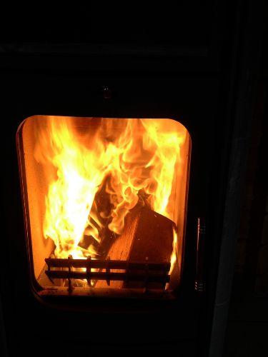 lauschiges Kaminfeuer im Wohnzimmer